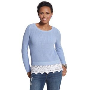 Chico's embroidered hem brianne sweater blue large